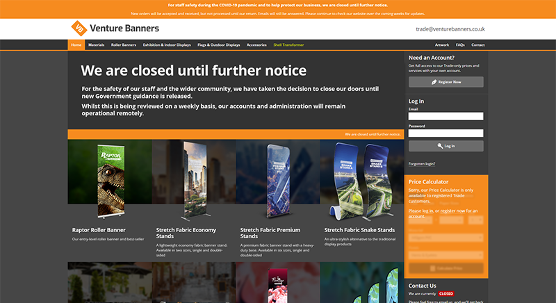 Venture Banners Website During Temporary Closure